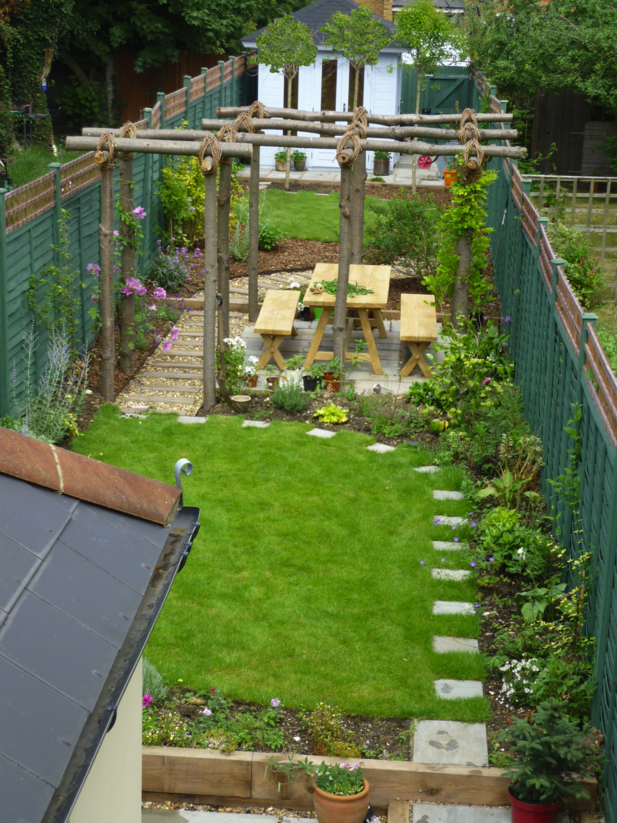 long thin gardens on Pinterest | Narrow Garden, Garden ... on Long Backyard Landscaping Ideas id=87211